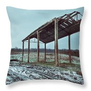 Old Barn In The Snow Throw Pillow