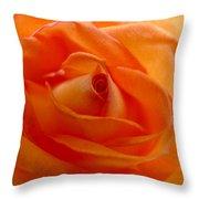 Orange Swirls Rose Flower Throw Pillow