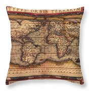 Ortelius World Map -typvs Orbis Terrarvm - 1570 Throw Pillow