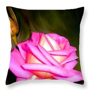 Painted Pink Rose Throw Pillow
