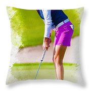 Paula Creamer Putts The Ball On The Fourth Green Throw Pillow