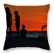Perfect Ending - 3 Friends On A Pier As The Hot Summer Sun Sets On The Indian River Bay Throw Pillow