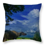 Philippine Countryside Throw Pillow