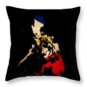 Philippines Outline Map With Grunge Flag Throw Pillow