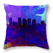 Phoenix Watercolor Skyline 1 Throw Pillow