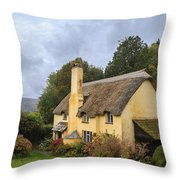 Picturesque Thatched Roof Cottage In Selworthy Throw Pillow