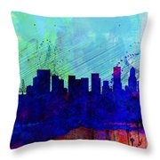 Portland Watercolor Skyline Throw Pillow