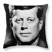Portrait Of John F. Kennedy  Throw Pillow by American Photographer