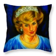 Portrait Of Lady Diana Throw Pillow