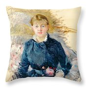 Portrait Of Louise Riesener Throw Pillow by Berthe Morisot