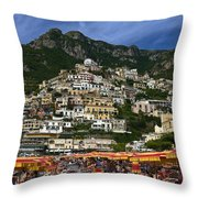 Positano Crowded Beach Throw Pillow