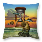 Prehistoric Animals - Beginning Of Time Beach Sunrise - Hourglass - Sea Creatures Square Format Throw Pillow