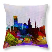 Providence Watercolor Skyline Throw Pillow