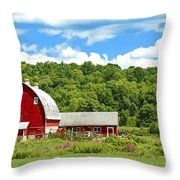 Red Farmstead In Summer Throw Pillow