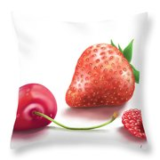 Red Fruits Throw Pillow
