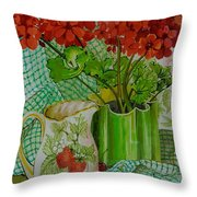 Red Geranium With The Strawberry Jug And Cherries Throw Pillow