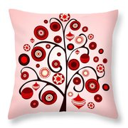 Red Ornaments Throw Pillow