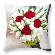 Red Rose And White Tulip Wedding Bouquet Throw Pillow
