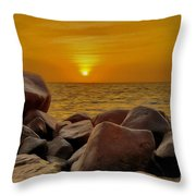 Red Sea Sunset Throw Pillow by George Paris