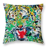 Roaring Enamel Tiger Throw Pillow