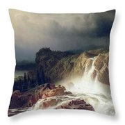 Rocky Landscape With Waterfall In Smaland Throw Pillow by Marcus Larson