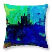San Francisco Watercolor Skyline 2 Throw Pillow