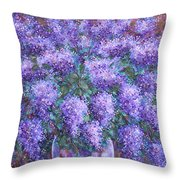 Scented Lilacs Bouquet Throw Pillow