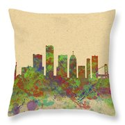 Skyline Of Detroit Usa Throw Pillow