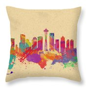 Skyline Of Seattle  Usa Throw Pillow