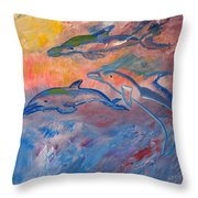 Soaring Dolphins Throw Pillow