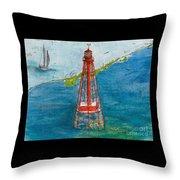 Sombrero Key Lighthouse Fl Chart Art Cathy Peek  Throw Pillow