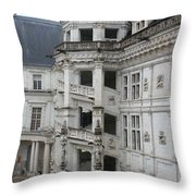 Spiral Staircase In The Francois I Wing - Chateau Blois Throw Pillow