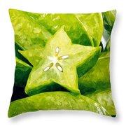 Star Fruit Carambola Throw Pillow