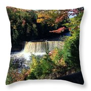 Tahquamenon Falls In Autumn Throw Pillow
