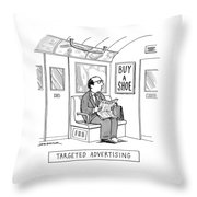 Targeted Advertising A Man Sits On The Subway Throw Pillow