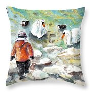 The Child And The Birds On Lake Constance Throw Pillow