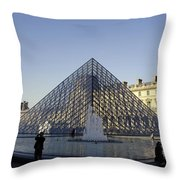 The Glass Pyramid Of The Musee Du Louvre In Paris France Throw Pillow