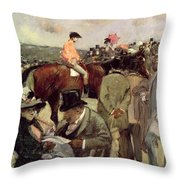 The Horse Race Throw Pillow by Jean Louis Forain