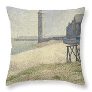 The Lighthouse At Honfleur Throw Pillow by Georges Pierre Seurat