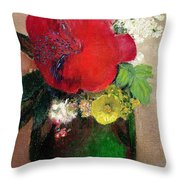 The Red Poppy Throw Pillow by Odilon Redon