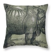 The Rhinoceros Throw Pillow by Albrecht Durer