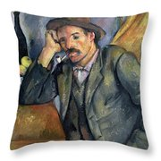 The Smoker Throw Pillow by Paul Cezanne