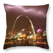 Thunderstorm Over The Arch Throw Pillow