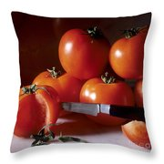Tomatoes And A Knife Throw Pillow by Bernard Jaubert