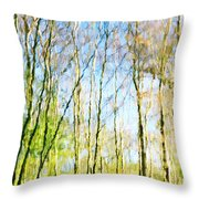 Tree Reflections Abstract Throw Pillow