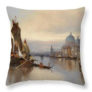 Venetian Scene With A View Of Santa Maria Della Salute Throw Pillow