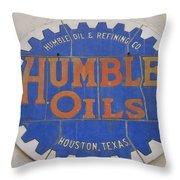 Vintage Humble Oils Sign Jefferson Texas Throw Pillow