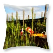 Waiting Girl On Les Cheneaux  Throw Pillow