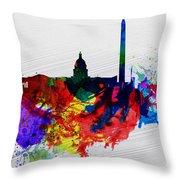 Washington Dc Watercolor Skyline 1 Throw Pillow by Naxart Studio