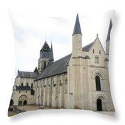 West Facade Of The Church - Fontevraud Abbey Throw Pillow